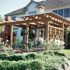 Large-Scale Pergola  The western exposure of this outdoor space meant that guests sizzled on hot days. The solution? A pergola--one that matches the scale of the large house and the sprawling backyard--provides some shady relief.