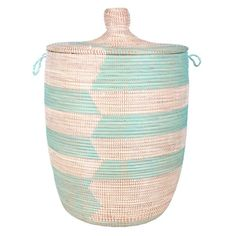 Connected Fair Trade - Woven African Laundry Clothes Hamper - Aqua/White - Large