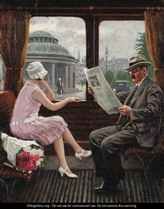 """Paul Gustave Fischer (1860-1934): """"In the Train Compartment""""."""