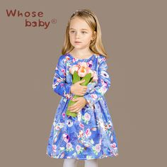 af5efe1a7b Aliexpress.com   Buy 2016 New Arrival Girl s Pink And Blue flower Printing  Autumn Winter Dresses Children Brithday Party Long Sleeve Wedding Clothing  from ...
