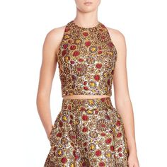 Alice + Olivia Farrah Cutout Cropped Top ($245) ❤ liked on Polyvore featuring tops, apparel & accessories, zip crop top, zipper crop top, cut-out tops, cutout top and red floral top