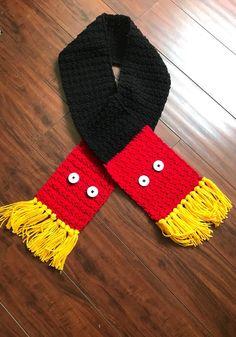 Crochet Mouse theme scarf, Storybook inspired scarf, Mouse inspired child scarf, Mouse theme adult scarf, amusement part scarf Disney Crochet Patterns, Crochet Disney, Christmas Crochet Patterns, Doll Patterns, Crochet For Kids, Crochet Baby, Crochet Stitch, Crochet Beanie, Crochet Dolls