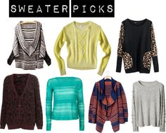 """""""Sweater Picks"""" by sunshineitgirl on Polyvore"""