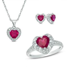 Zales Heart-Shaped Lab-Created Ruby and White Sapphire Pendant, Ring and Earrings Set in Sterling Silver - Size 7