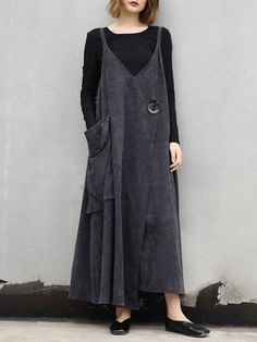 Loose Gray And Black Casual Corduroy Strap Dresses For Women – Linen Dresses For Women Linen Dresses, Casual Dresses, Loose Dresses, Boho Fashion, Fashion Outfits, Womens Fashion, Vintage Style Dresses, Lookbook, Fashion Models