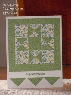 handmade quilt card ... nine patch with a cross pattern ... luv the coordinating papers with the tiny prints ... like how the bottom of the card finishes the theme ... Stampin' Up!
