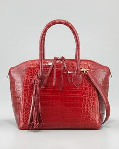 c5970f3d76a9 Crocodile Zip Tote Bag with Tassel