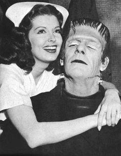 Jane Adams with Glenn Strange as the Frankenstein monster in House of Dracula (1945)