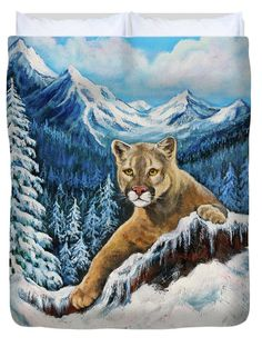 """Cougar Sedona Red Rocks  Queen (88"""" x 88"""") Duvet Cover by  Dr Bob and Nadine Johnston"""