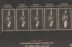 Years Ago...November 7th 1971 The Alice Cooper Band play for the second time at London's Rainbow.  Trade Advert