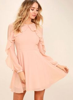 The Quiet Grace Blush Pink Long Sleeve Dress speaks volumes without saying a word! A sheer decolletage is met by a rippling tier that travels along long sleeves. Pink Long Sleeve Dress, Dresses With Sleeves, Sleeve Dresses, Ruffle Sleeve, Dress Long, Stylish Dresses, Casual Dresses, Lulu's Dresses, Club Dresses