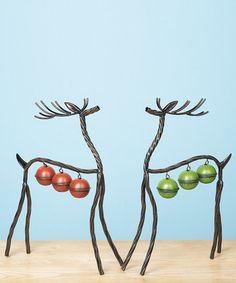 Metal Bell Reindeer Statue Set