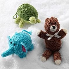 crocheted animal ornaments - Must remember this for the next time I have scrap yarn.