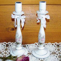 Подсвечник деревянный Шебби розы декупаж свадебные аксессуары купить в Москве 600 р.  http://www.livemaster.ru/marhan?view=profile