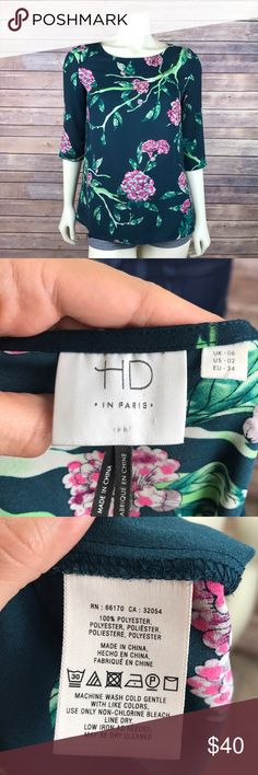 """Anthro HD in Paris Floral Print Eira Blouse Glee HD in Paris for Anthropologie 'Eira' blouse Hunter green with pink and white floral print As seen on Quinn from Glee Size 2. Armpit to armpit 19"""" Length 25"""" Great used condition, no flaws. MSRP $98 All measurements are approximate. Smoke free home. Anthropologie Tops Blouses"""