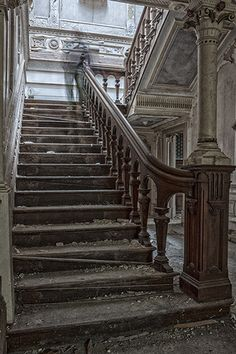 Mansion H, Lancashire - August 2012 - Derelict Places. This home was built in 1896. -- Human shadow standing at top of stairs?