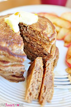 Gingerbread Pancakes ~ perfect for a holiday breakfast or any day! (a copycat recipe of Kerby Lane Cafe)   {Five Heart Home}