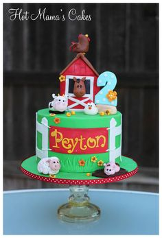 Hot Mamas Cakes specializes in custom cakes, cupcakes and sugar art for all occasions Farm Animal Cakes, Farm Animal Party, Farm Animal Birthday, Barnyard Cake, Farm Cake, Barnyard Party, Farm Birthday Cakes, 3rd Birthday Parties, 2nd Birthday