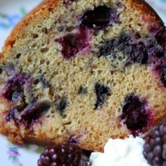 Blueberry yogurt cake with a lemon glaze-great with fresh whipped cream and summer berries.