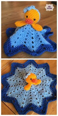 Crochet Duck lovey Security Blanket Free Crochet Patterns