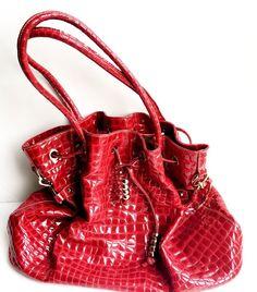 Red Large Hobo Bag, Patent Leather, Crocodile Pattern light Used - Charles David    eBay