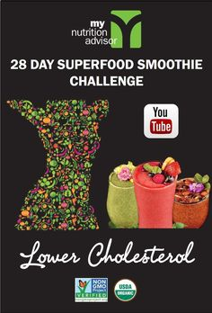 Lower your cholesterol naturally through Superfood Smoothies.  Take a superfood smoothie challenge to easily start eating the foods your doctor wants you to eat to help lower your cholesterol naturally!  Works with Vegan, Gluten-Free, Paleo, and Mediterranean diets.  Learn all about how the 28 Day Superfood Challenge in our free seminar video: http://mynutritionadvisor.com/smoothiechallenge/lower-cholesterol/ #mnasmoothie