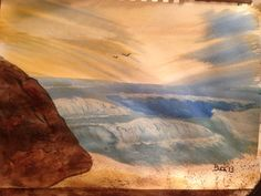 Seascape with boulder in watercolors.