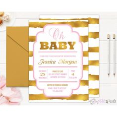 Baby Shower Invitation Template Printable Black Mint Gold Baby