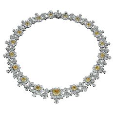 DAVID ROSENBERG Important White And Yellow Diamond Necklace | From a unique collection of vintage more necklaces at https://www.1stdibs.com/jewelry/necklaces/more-necklaces/