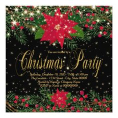 Rustic Red Poinsettia Christmas Party Card