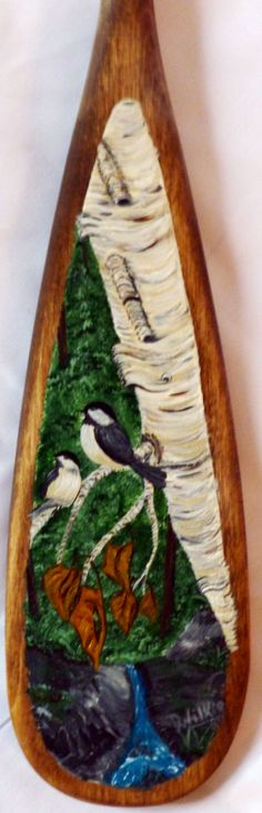"24"" canoe paddle hand painted Chickadee  www.aframestudios.ca Canoe Paddles, What To Make, Woodworking, Hand Painted, Projects, Crafts, Painting, Ideas, Home Decor"