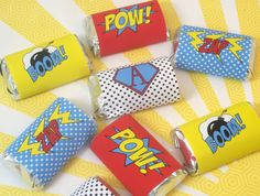SUPERHERO Mini Candy Bar Wraps  Chocolate Bar by WithEnvyParties, $5.00