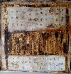 wax, pigments , linen on wood  1m X 1m