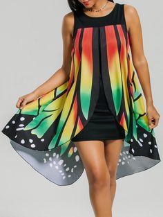 962fb2012a4 Front Slit Sleeveless Butterfly Shape Dress - COLORMIX M Butterfly Print  Dress