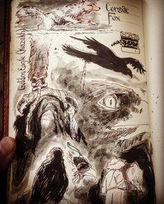 Sketching #jinhaox750 #pentel #huntress #eagle #aisholpan #art #artist #fox #hunt #moleskine #inkwash #sketchbook