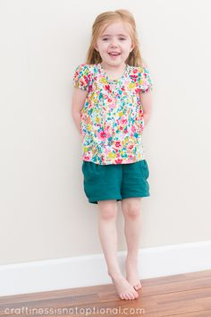 Puppet Show Shorts and Ice Cream Blouse (craftiness is not optional), using oliver + s patterns