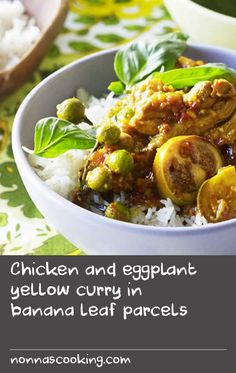Chicken and eggplant yellow curry in banana leaf parcels Thai Chicken Recipes, Thai Chicken Curry, Thai Recipes, Curry Recipes, Pasta Recipes, Weed Recipes, Banana Recipes, Thai Pasta, Yellow Curry Paste