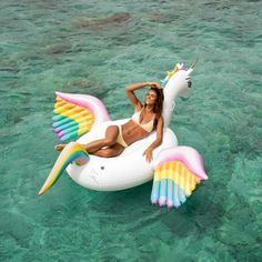 $99 BUY NOW  Swan floats are so last year. Upgrade your pool party game with this unicorn float with rainbow wing details!