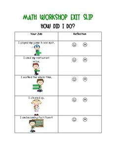 Here's an exit slip for math workshop that is an excellent self-assessment of daily performance. Also includes slips for reader's and writer's workshop. Math Classroom, Kindergarten Math, Teaching Math, Math Workshop, Writer Workshop, Workshop Ideas, Math Stations, Math Centers, Writing Rubrics
