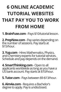 How to Generate Income From the Internet - 6 Online Academic Tutorial Websites That Pay You To Work From Home - Wisdom Lives Here How to Generate Income From the Internet - Here's Your Opportunity To CLONE My Entire Proven Internet Business System Today!