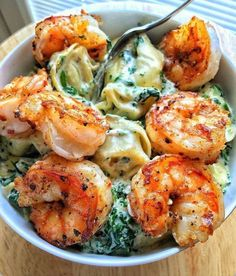 "drunkcravings: ""Creamed Spinach Tortellini with Grilled Spicy Shrimp """