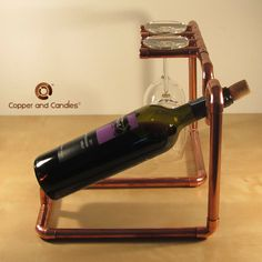 Industrial copper pipe wine glass & bottle rack