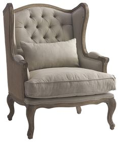 Berger French Country Linen Button Tufted Wing Back Arm Chair - armchairs - Kathy Kuo Home