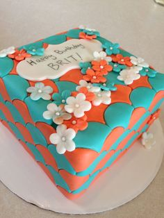 Blue and orange birthday cake