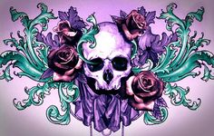 Could be a chest piece! Skull Rose Tattoos, Body Art Tattoos, Compass Tattoo, Sugar Skull Artwork, Sugar Skulls, Cross Stitch Skull, Arte Punk, Diamond Picture, Totenkopf Tattoos