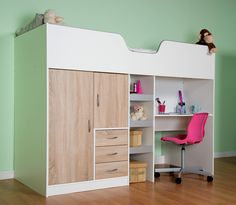 High Sleeper Cabin bed with Colour options ideal kids safe bed with wardrobe and desk Bourne Boys Cabin Bed, High Sleeper Cabin Bed, Cabin Beds, Mid Sleeper, My New Room, My Room, Girl Room, Bed Without Mattress, Bed With Wardrobe