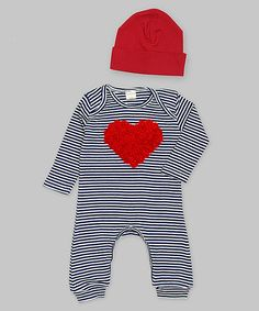 Another great find on #zulily! Tesa Babe Ivory & Navy Stripe Chiffon Heart Playsuit & Beanie - Infant by Tesa Babe #zulilyfinds
