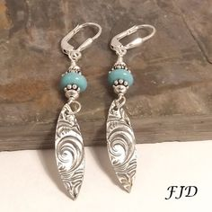 Fine Silver, Turquoise Jasper and Sterling Silver Earrings by FelicityDesignsLLC on Etsy