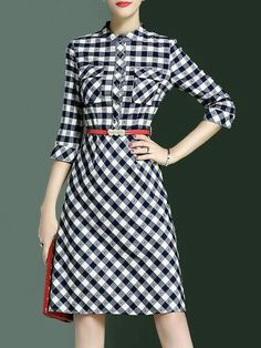 Large gingham check shirt dress with A-line skirt