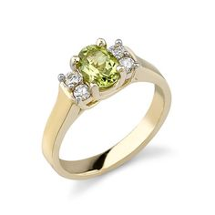 Becker's Jewelry Corp - 14K Yellow Gold Green Peridot & Diamond Ring Peridot Jewelry, Rings N Things, Green Peridot, Birthstones, Gifts For Her, Engagement Rings, Jewels, Lovely Things, Rings And Things